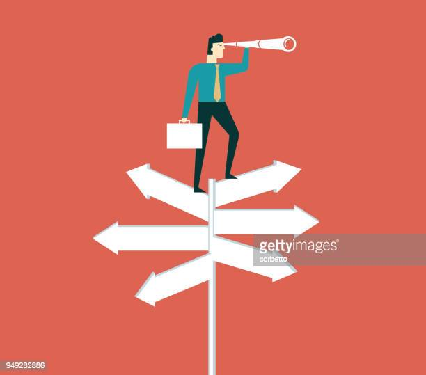 businessman with spyglass on a crossroad sign - exploration stock illustrations