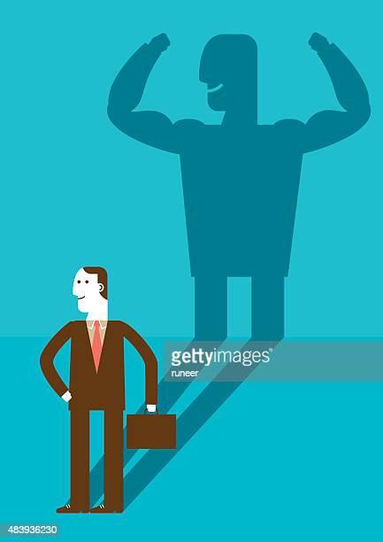 ビジネスマンに強い男性新しいビズ・シャドウ/コンセプト