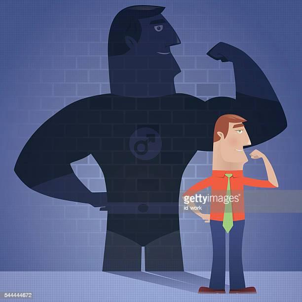 ilustraciones, imágenes clip art, dibujos animados e iconos de stock de businessman with superhero shadow - fuerza