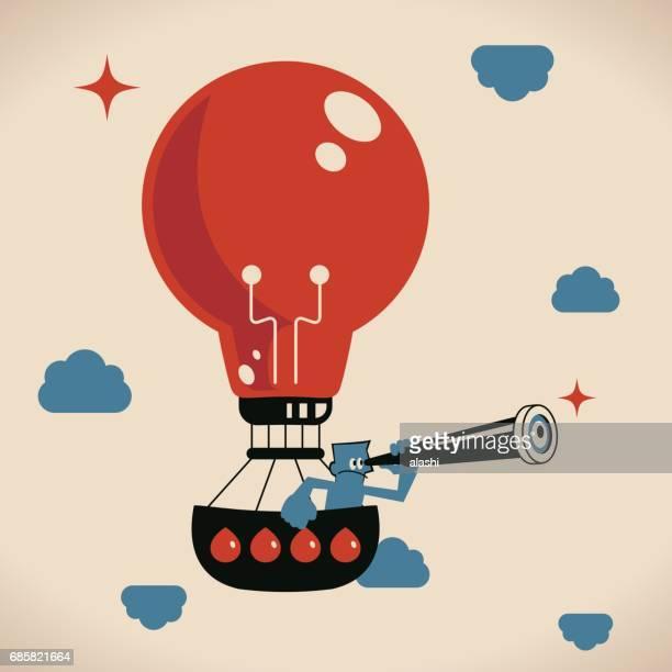 Businessman (man, politician) with telescope, in idea light bulb hot air balloon