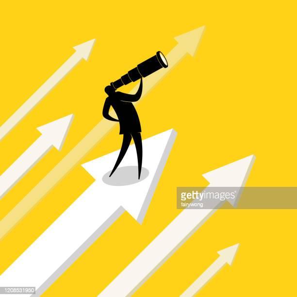 illustrazioni stock, clip art, cartoni animati e icone di tendenza di uomo d'affari con telescopio che guarda al futuro - previsione