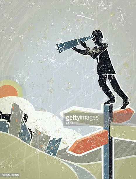 businessman with telescope standing on road sign at crossroads - lost stock illustrations, clip art, cartoons, & icons