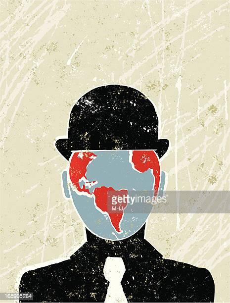 stockillustraties, clipart, cartoons en iconen met businessman with the world as his face - henri matisse