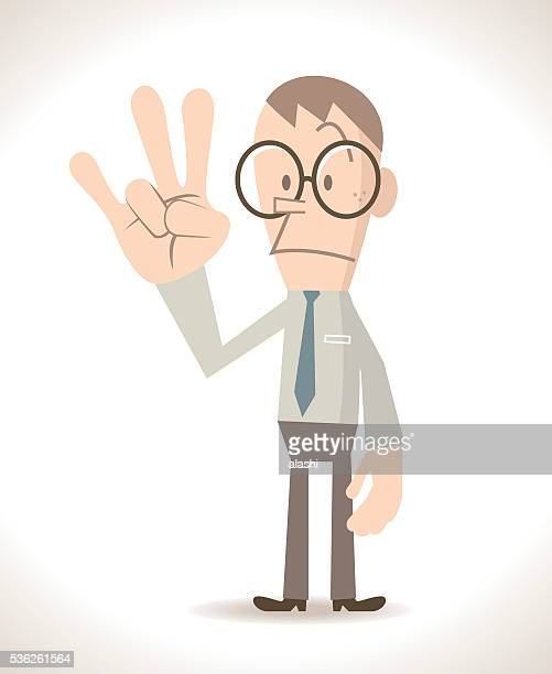 Businessman with three finger up, gesturing number 7 (hand sign)