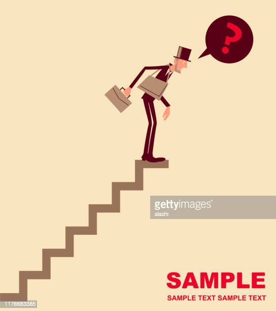 businessman with top hat and briefcase climbed steps upwards and found there is no road ahead - bad luck stock illustrations, clip art, cartoons, & icons