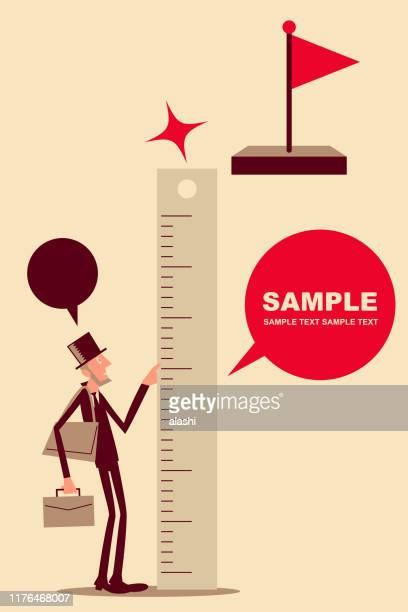 businessman with top hat and briefcase measuring the distance from the target (goal) flag up high - meter instrument of measurement stock illustrations