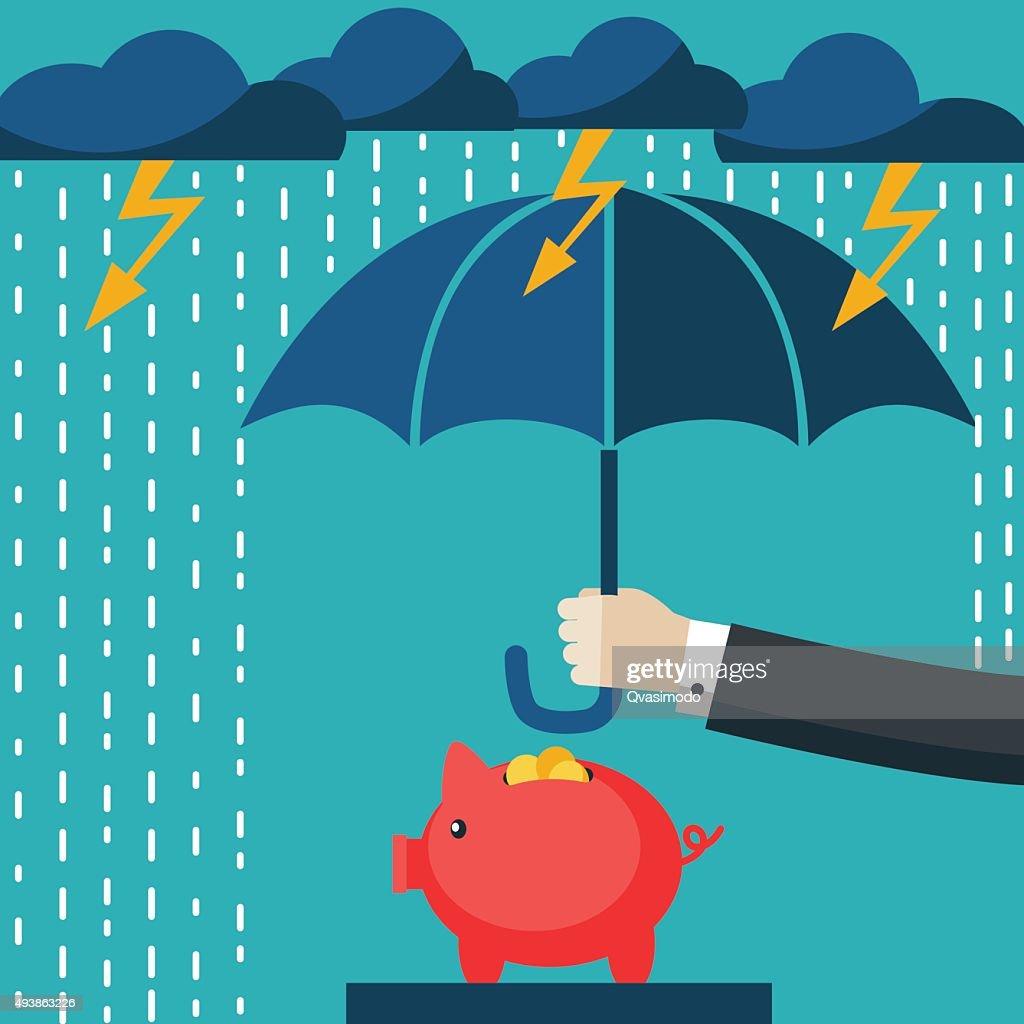 Businessman with umbrella protecting his piggy bank. Saving money concept