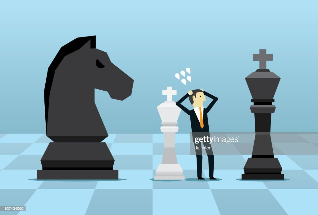 Businessman with white chess : Stock Illustration