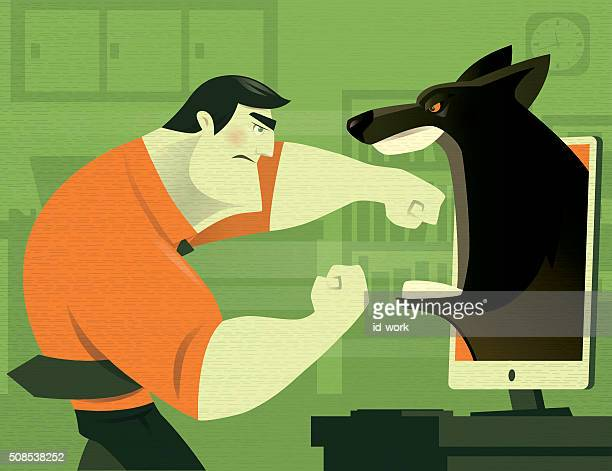 businessman with wolf - office fight stock illustrations, clip art, cartoons, & icons