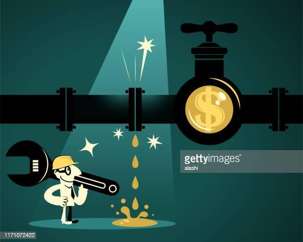 ilustraciones, imágenes clip art, dibujos animados e iconos de stock de empresario (plumber) con llave inglesa y casco de trabajo encontrando tubería con fugas con grifo de señal de dólar - impuesto sobre la renta