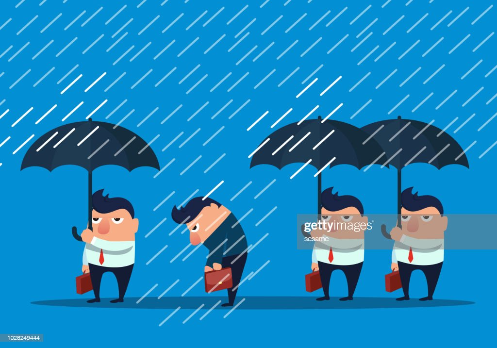Businessman without umbrella in the rain : stock illustration