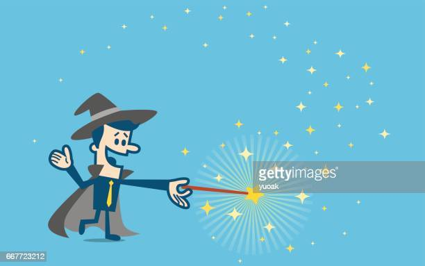 businessman wizard - wizard stock illustrations, clip art, cartoons, & icons