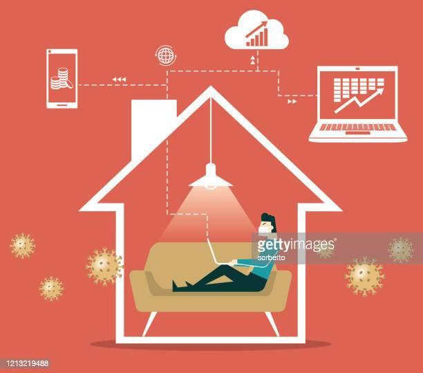 ilustraciones, imágenes clip art, dibujos animados e iconos de stock de empresario - trabajar desde casa - cuarentena