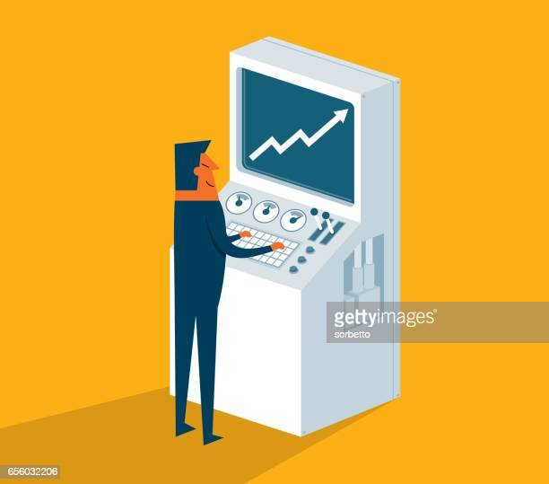 businessman work in front of control panel