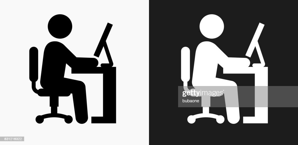 Businessman Working Icon on Black and White Vector Backgrounds