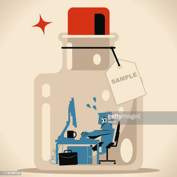 businessman working in confined space glass bottle with cork (airtight container) and label - cork stopper stock illustrations, clip art, cartoons, & icons