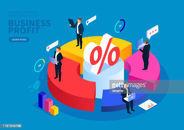 businessman working on a pie chart, business profit, business services and statistics - percentage sign stock illustrations