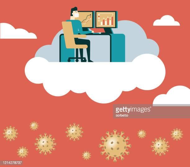 ilustraciones, imágenes clip art, dibujos animados e iconos de stock de empresario trabaja en la computadora en clound - cuarentena