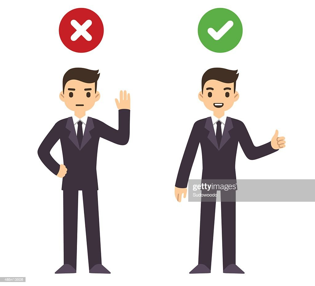 Businessman wrong and right