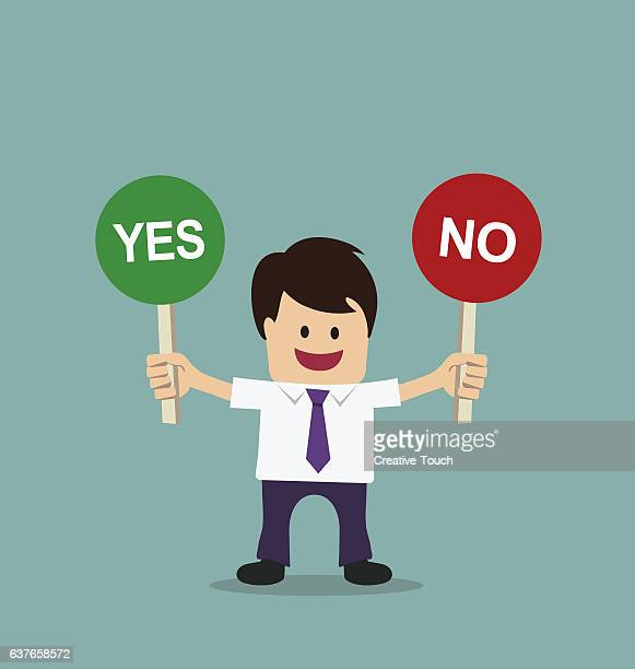 Businessman Yes No banner
