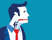 Businessman zippered mouth. Concept business vector illustration.