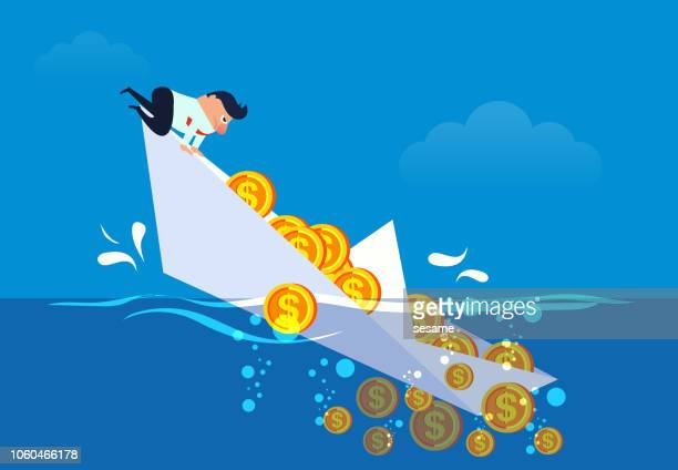 Businessman's boat and gold coins sinking