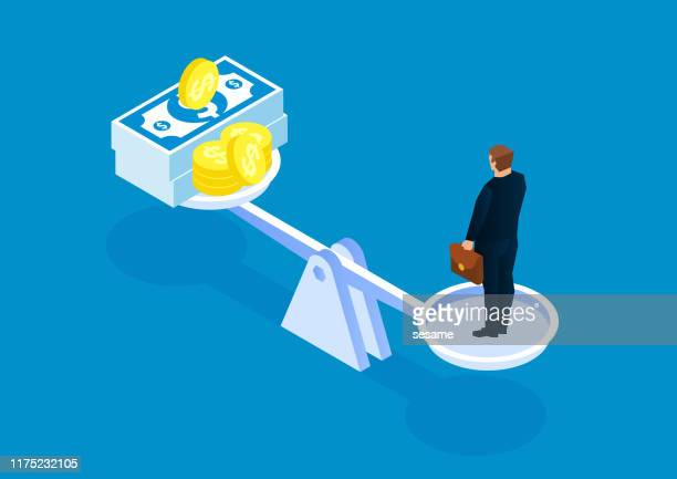 businessman's business value, businessman standing on the scales and keeping the same weight of money - business finance and industry stock illustrations
