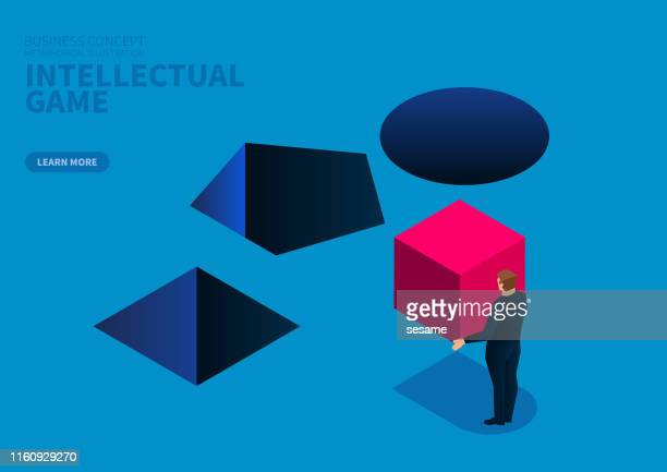 businessman's choice, geometry fills the puzzle game - hole stock illustrations
