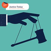 Businessman's hand manipulating the justice like a puppet