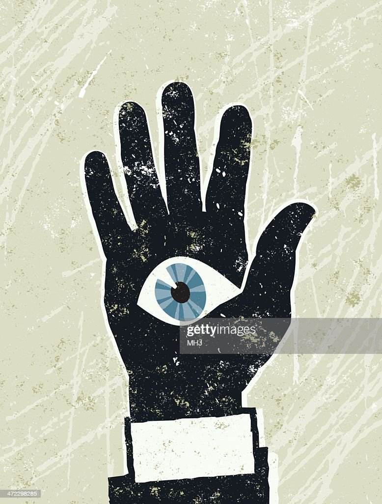 Businessmans Hand With And Eye On His Palm Vector Art Getty Images
