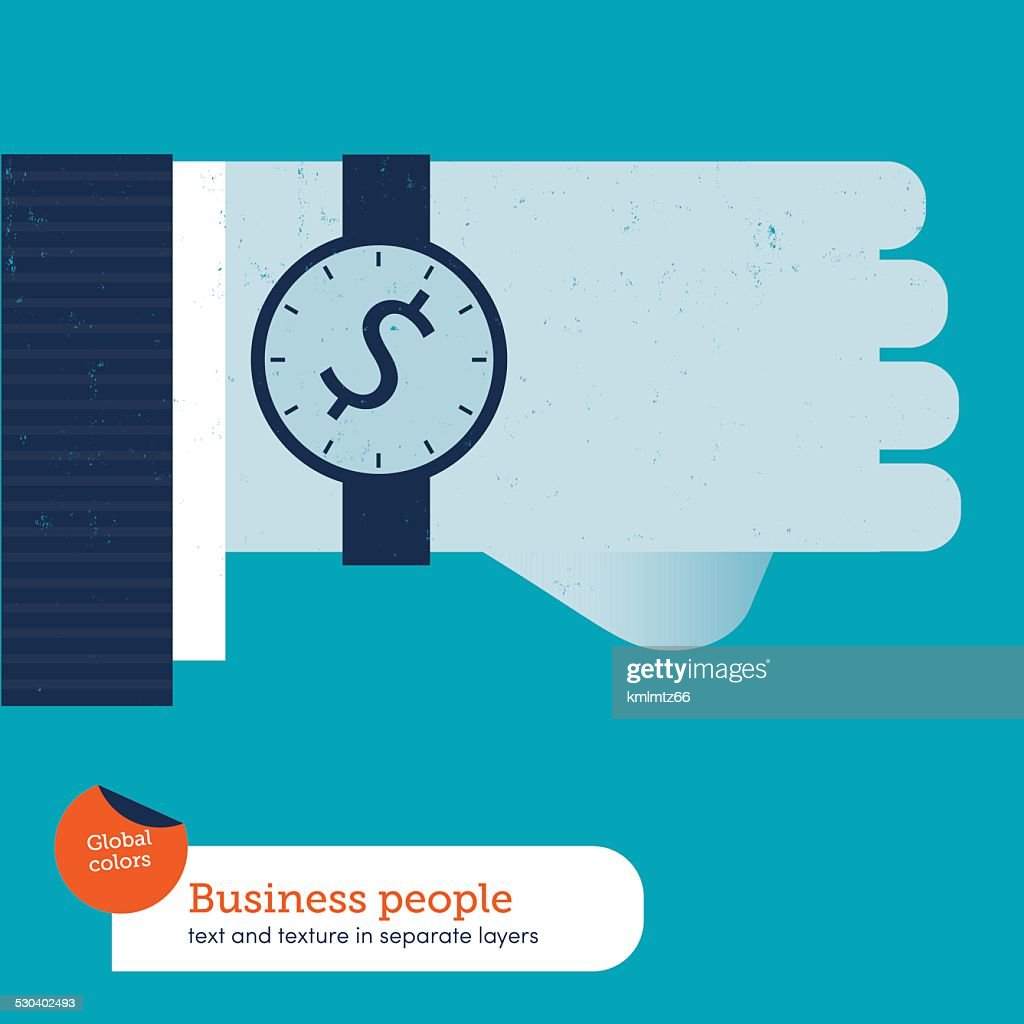 Businessman's hand with clock and money symbol