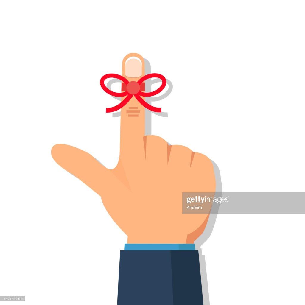 Businessman's hand with Reminder string  on finger. Vector illustration.