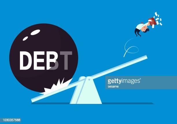 stockillustraties, clipart, cartoons en iconen met zakenman enorme schuld - scales balance