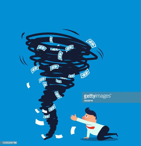 businessman's money is scraped away by a tornado - hurricane stock illustrations, clip art, cartoons, & icons