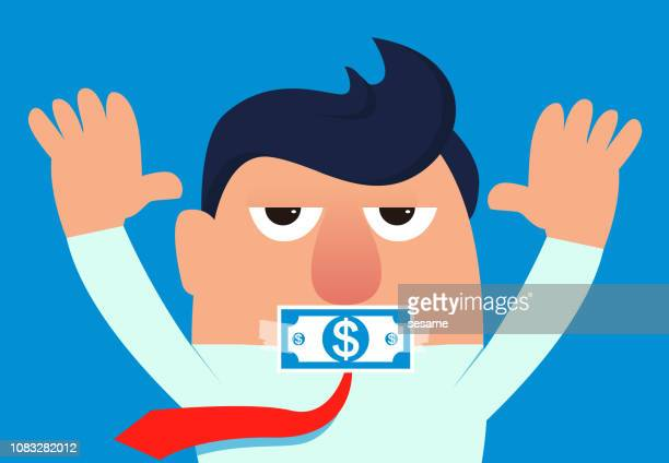 businessman's mouth is pasted by banknotes - refusing stock illustrations, clip art, cartoons, & icons