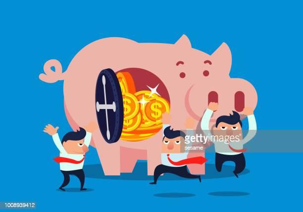 ilustraciones, imágenes clip art, dibujos animados e iconos de stock de hucha de hombre de negocios llenado de dinero - impuesto sobre la renta