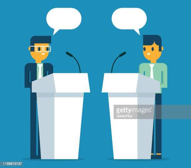 ilustrações, clipart, desenhos animados e ícones de homens de negócios que falam no pódio - debate