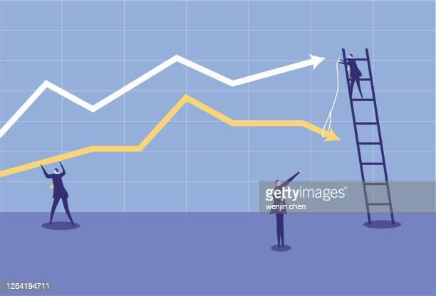 businessmen adjust stock market ups and downs - inflation stock illustrations