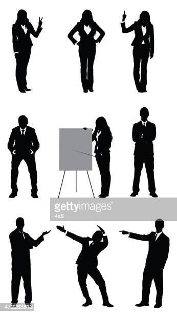 ビジネスマンおよび businesswomen ベクトル画像 - ピースサイン点のイラスト素材/クリップアート素材/マンガ素材/アイコン素材