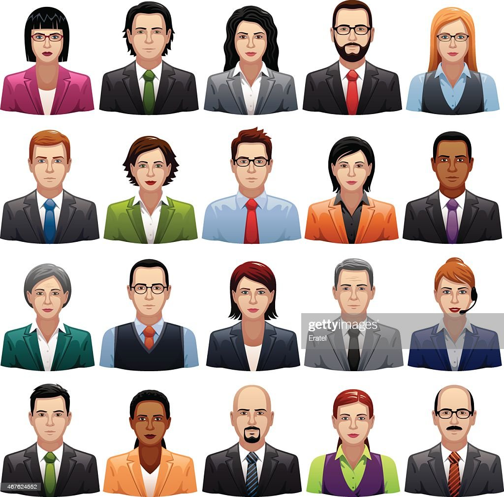 Businessmen and Busineswomen Icons : stock illustration