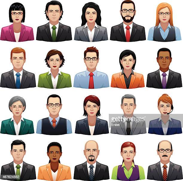 businessmen and busineswomen icons - avatar stock illustrations