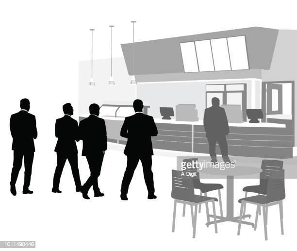 Businessmen Cafeteria Lunch
