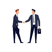 Businessmen came to an agreement and completed the deal with a handshake.