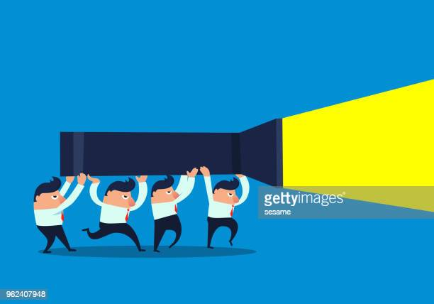 businessmen carry a flashlight - flashlight beam stock illustrations, clip art, cartoons, & icons