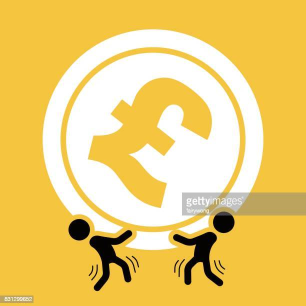 businessmen carrying a giant pound sign - head above water stock illustrations