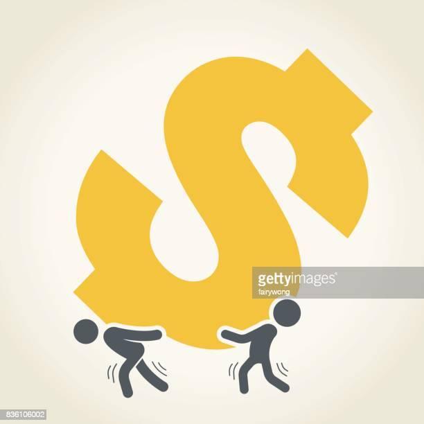 businessmen carrying big dollar sign - physical pressure stock illustrations