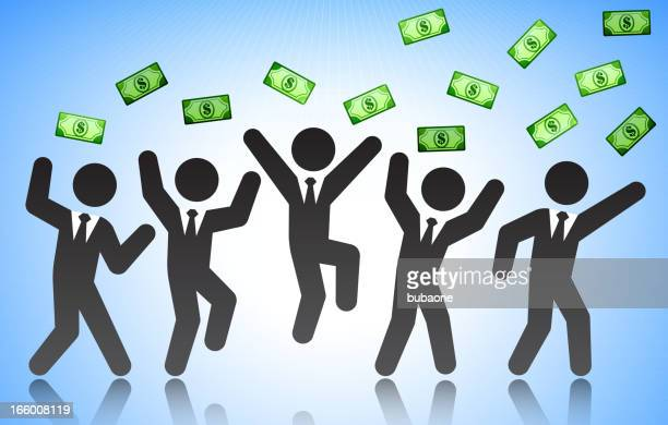 ilustrações, clipart, desenhos animados e ícones de empresários celebrando e jogando dinheiro no ar - reforma assunto