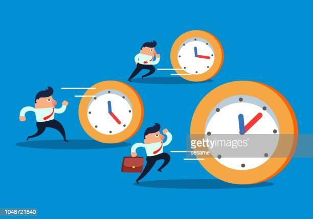ilustrações, clipart, desenhos animados e ícones de empresários, perseguindo o relógio - prazo