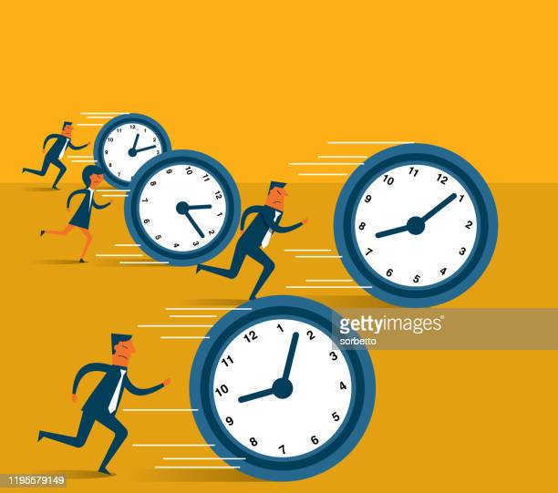illustrazioni stock, clip art, cartoni animati e icone di tendenza di uomini d'affari che inseguono l'orologio - scadenza