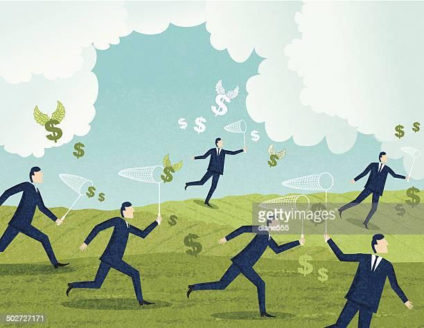 Geschäftsleute die Jagd nach Geld mit Schmetterling Nets